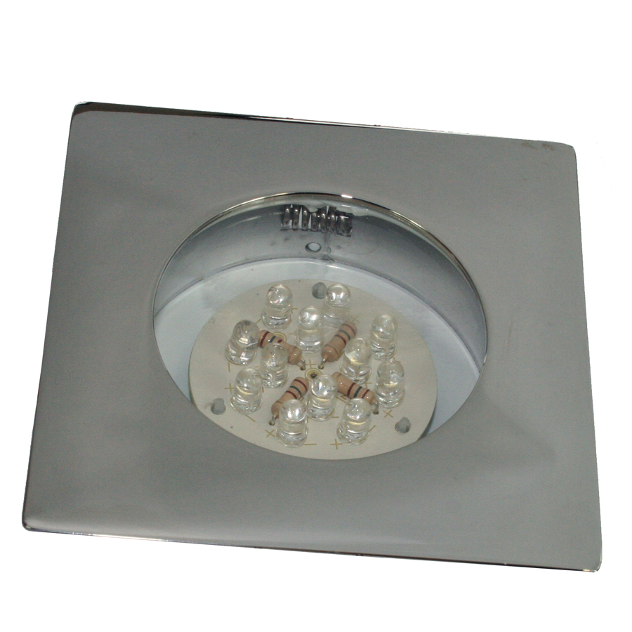 Downlight, LED, firkantet, krom